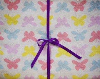 Extra Large Receiving/Swaddle Blanket -Pink, Lavender, Yellow, Blue Butterfly 36x42