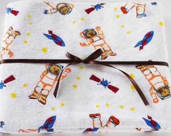 Extra Large Receiving/Swaddle Blanket - Space Teddy Bear Astronaut 36x44