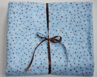 Blue Brown Polka Dots Extra Large Receiving Swaddle Blanket - 40x40 Flannel Cotton