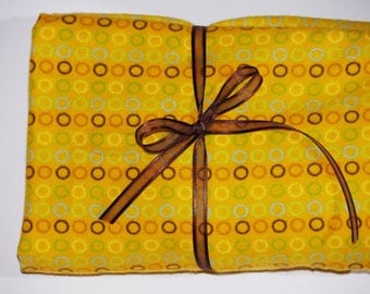 Pack n Play Sheet - Fitted Cotton Ultra Soft Flannel Playard Sheet -  Yellow Chocolate Brown Circles