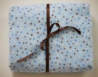 Pack n Play Sheet - Fitted Cotton Flannel Playard Sheet - Blue and Brown Polka dots