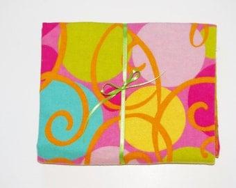 Extra Large Receiving/Swaddle Blanket Pink Aqua Lime GEOMETRIC 36x42