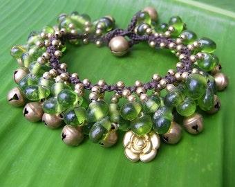 Thai Bracelet  Handmade Brass Beads Adjustable Size (B001-G)