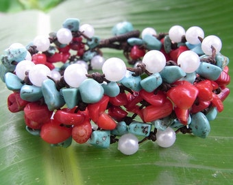 Thai Bracelet Handmade Turquoise, Stone And Nice Bead Adjustable Size (B006)