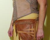 Genuine leather Light brown hip bag,