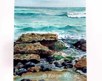 Ho'okipa Beach Garden of Rocks watercolor print by Paige Weber