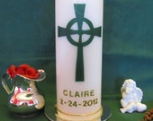Personalized Irish Baptism Candle - Dark Green Celtic Cross and Golden Personalization and Decor