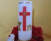Personalized Communion Candle - WhiteTall Pillar Candle - Red Cross, Chalice and IHS