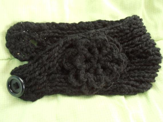 Black Knit Ear-warmer with Flower