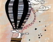 """7x5"""" Giclee Art Print of Original Pen Illustration by Sail and Swan"""