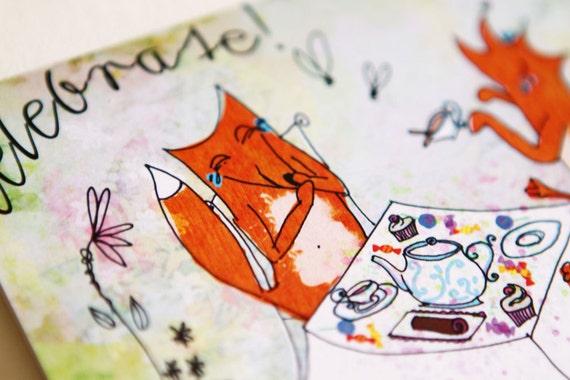 Celebrate Fox Birthday Card 138 x 105mm with Brown Kraft Paper Envelope