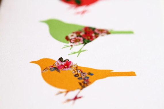 Spring Birds Greeting Card (Blank) 138 x 105mm with Brown Kraft Paper Envelope