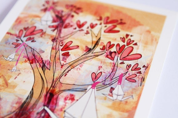 7 x 5 Giclee Print of Original Drawing - Origami Tree
