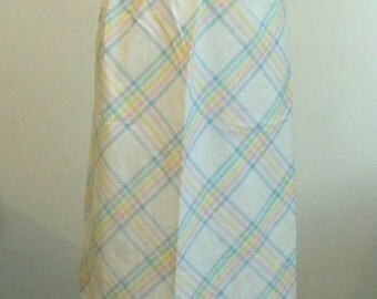 Vintage - Over The Pastel Rainbow - Striped White Skirt Long With Belt