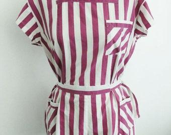 Vintage - StripeTease - Magenta And White Jumper / Summer Romper Shorts