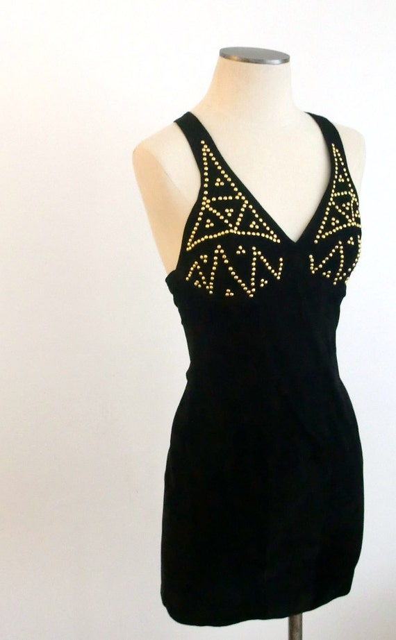 Reserved for Becky- 80s Glam Suede Leather Mini Black Dress- Not For Sale