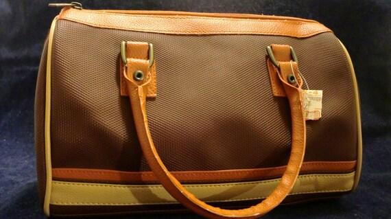 Vintage Brown and Burnt Orange  Handbag Purse with Original Price Tag