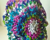 Crocheted Oversized Mesh Slouchy Hat - Rainbow/Tie Dye/Psychedelic Colors