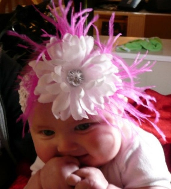 White Silk Jewel Centered Mum with Soft Hot Pink Ostrich Feather Hair Clip