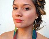 Multi-Colored Woven Mat Earrings