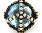 NEW Vintage Retro Antique Crystal Peace Sign RING