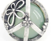 Vintage Antique Silver-tone Stone Floral Peace Sign Ring,Size 7.5 / 8