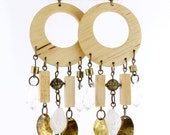 Bohemia Long Natural Wooden Tear Drop/Disc/Plate Hoop EARRINGS
