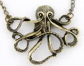Simple Copper Hollow Octopus Pendant Necklace