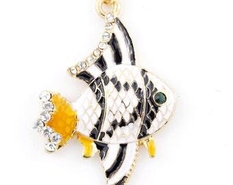 Cute Gold-tone White Enamel Crystal Fish Pendant NECKLACE,M2