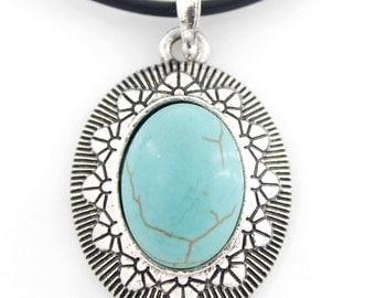 Silver-tone Turquoise Stone Pendant NECKLACE