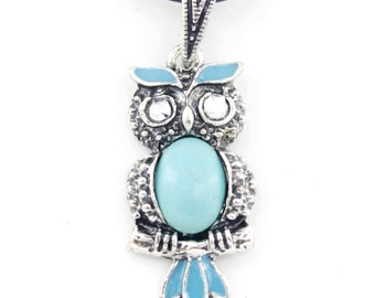 CUTE Silver-tone Turquoise Stone Owl Pendant NECKLACE