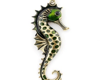 NEW Antique Gold-tone Green/Red Sea Horse Pendant NECKLACE