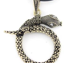 Vintage Retro Antique Crystal Snake Pendant Necklace