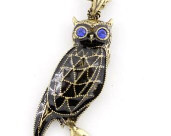 Cool Gold-tone Blue-eye Black Owl Necklace