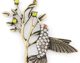 NEW  VINTAGE Feel Anti-brass Bird and Tree Pendant Necklace,K2