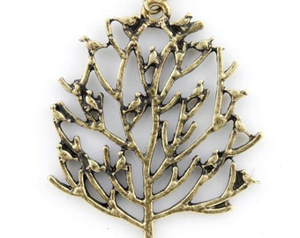 Gold-tone Simple Cute Little Birds and Tree Pendant Necklace