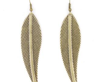 Vintage Feel Retro Gold-tone Leaf Drop Dangle EARRINGS