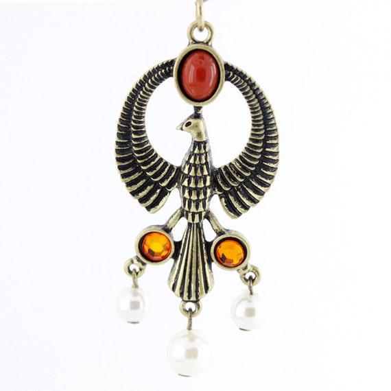Pretty Beautiful Gold-tone Bird/Eagle Beads Dropped Pendant Necklace