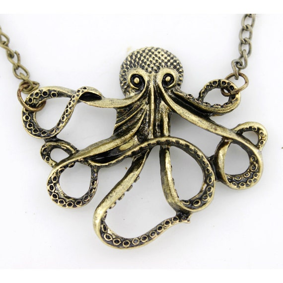 Simple Copper Hollow Octopus Pendant Necklace