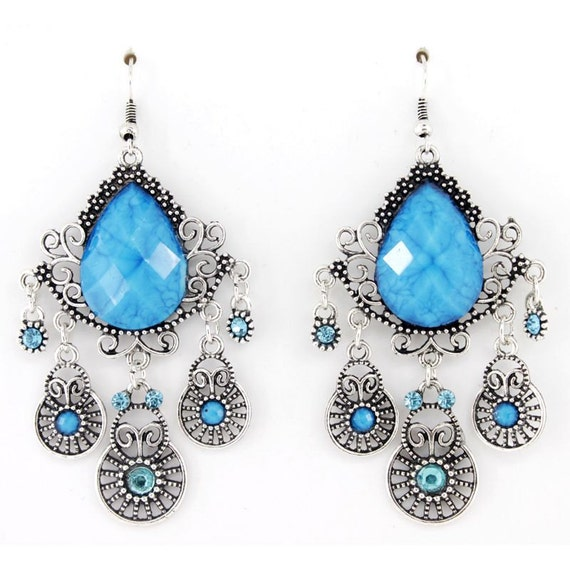 Silver-tone Blue Stone Bohemia Style Chandelier Drop EARRINGS
