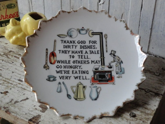 Vintage Kitchen Decor Plate w/ Dirty Dishes Verse