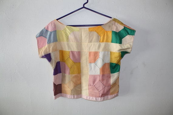 60s patch work san fran homemade crop top