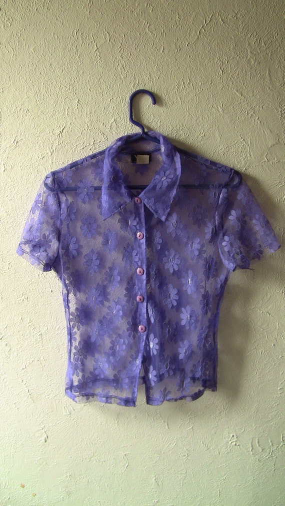 SALE...Rad 90's floral flower power see thru lace purple blouse t-shirt