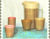 1960s Raffia Ware Pitcher and Asst Pieces