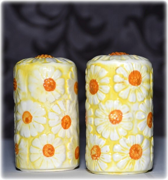 RESERVED for Mr W ViIntage MidCentury Brinn's Daisy Salt & Pepper Shakers