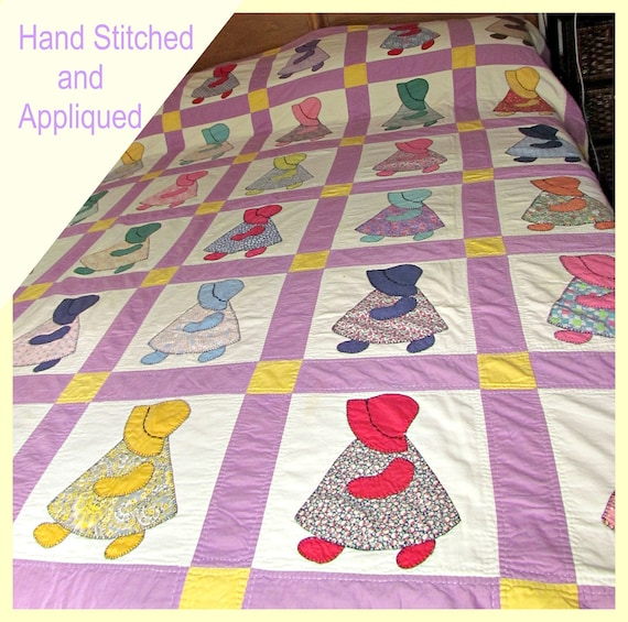 SALE!!!   1940s Sunbonnet Sue/Dutch Girl Handmade Cotton Quilt