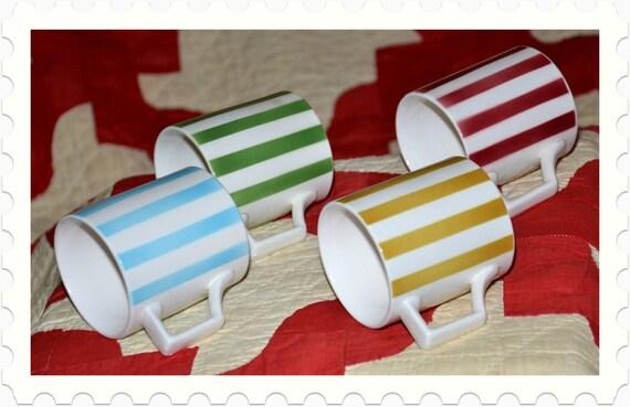 1950s Porcelain Striped Mugs