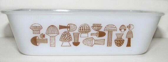 Vintage Glasbake Mushrooms Motif Loaf Pan