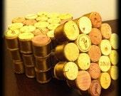 Handmade Wine Cork Coasters (Set of 4)-Light Brown Satin Ribbon Trim