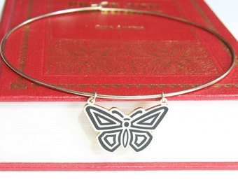 Gold Wire Choker Necklace with Vintage 1960s Art Deco Design Black and Gold Butterfly Pendant
